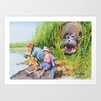 hippo Art Prints featuring hippo! by Rose Rigden