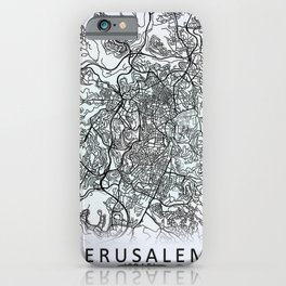 Jerusalem, Israel, White, City, Map iPhone Case