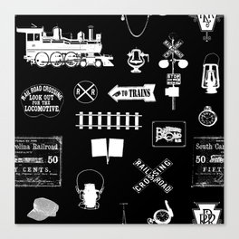 Railroad Symbols on Black Canvas Print