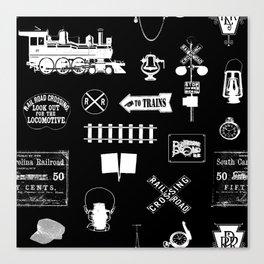 Railroad Symbols on Black Canvas Print