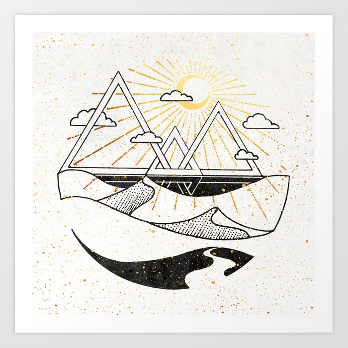 Triangle Dunes Inktober :: Destiny Laced Beneath The Deserts Art Print