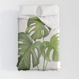 Monstera deliciosa 3 Leaves Duvet Cover