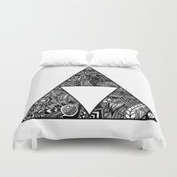triforce Duvet Covers featuring Triforce Zentangle by Riaora Creations