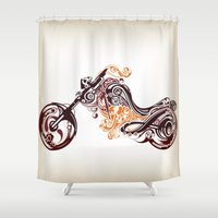 motorcycle Shower Curtains featuring Abstract Motorcycle by Paper Fox Design Studio