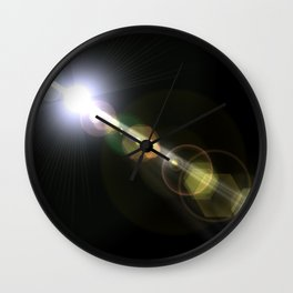 blue white lens flare on black background Wall Clock