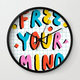 Hella' - retro 80s throwback memphis style trendy 1980's neon vibes typography Wall Clock