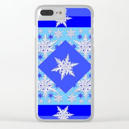 DECORATIVE BABY BLUE SNOW CRYSTALS BLUE WINTER ART Clear iPhone Case