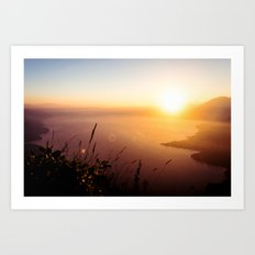 The view from my tent over Lake Atlitán Art Print