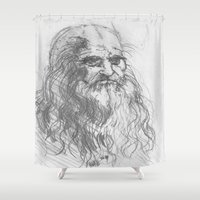 leonardo dicaprio Shower Curtains featuring Leonardo by Kathryn Gabrielle Mauno
