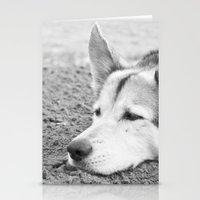 husky Stationery Cards featuring husky by MrBdigital