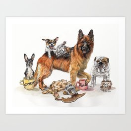 """Coffee Dogs"" funny coffee and dog artwork Art Print"