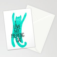 i love my freaking cat - mint Stationery Cards