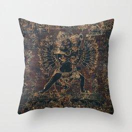 Shri Hevajra Black Death Thangka Throw Pillow