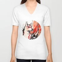 okami V-neck T-shirts featuring Okami by Rubis Firenos