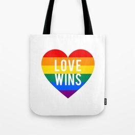 Love wins rainbow heart Tote Bag