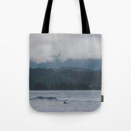 Lone Surfer - Hanalei Bay - Kauai, Hawaii Tote Bag
