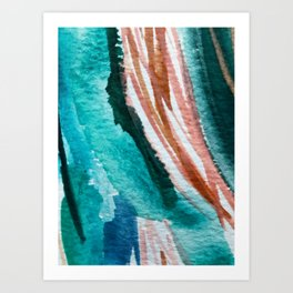 Here's to the Dreamers: a minimal, watercolor abstract piece in pinks, green, blue, and white Art Print