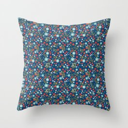 Floral pattern on blue background. Flower meadow. Throw Pillow