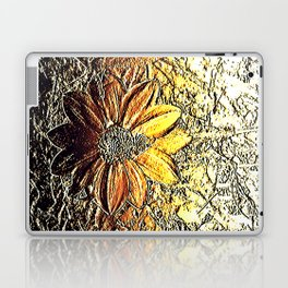 Golden glitter rust daisy flower metallic look Laptop & iPad Skin