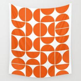 Mid Century Modern Geometric 04 Orange Wall Tapestry
