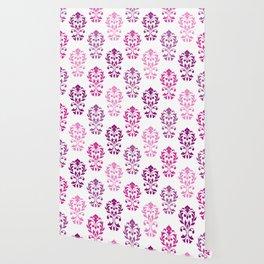 Heart Damask Art I Pinks Plums White Wallpaper