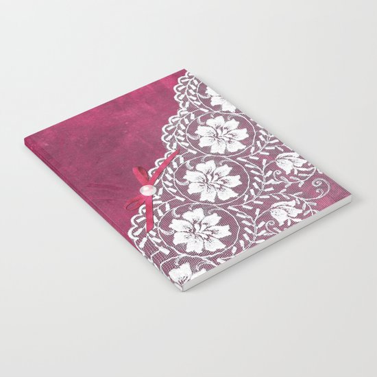 Claire´s treasure - White beautiful lace and pearl on pink grunge backround Notebook