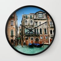 venice Wall Clocks featuring Venice by Shannon McCullough-Wight