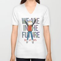 holographic V-neck T-shirts featuring Marty McFly in the Future by Sebast Hoyos