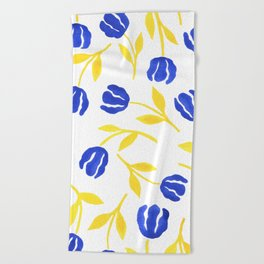 Blue and Yellow Floral Beach Towel