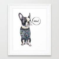 boston terrier Framed Art Prints featuring Boston terrier by Bananastuff