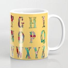 Floral Alphabet in Yellow Coffee Mug
