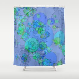 Bubbles: abstract digital art fashionable modern colors Shower Curtain