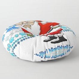 MoCKiNg SaNta Blue Magic Background Floor Pillow