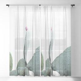 Mint Green Cactus Sheer Curtain