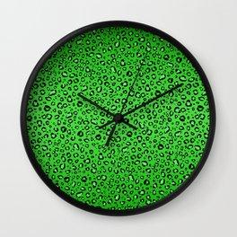 Green Leopard Print Wall Clock