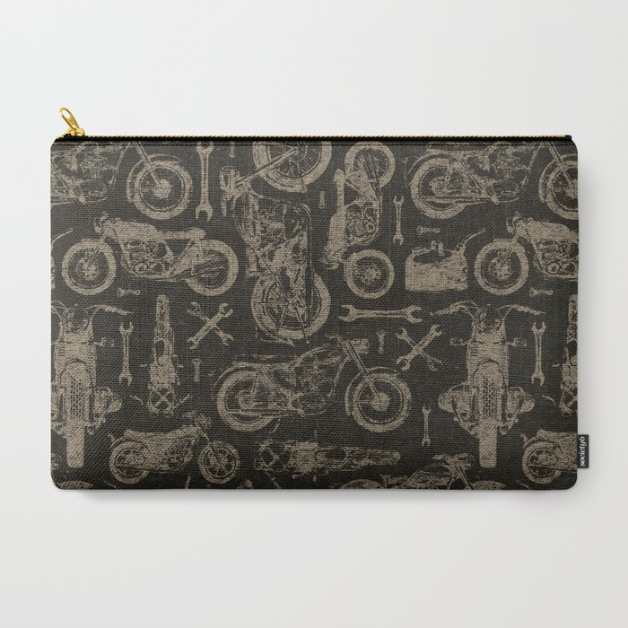 Dark Vintage Motorcycle Pattern Carry-All Pouch