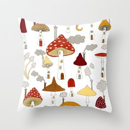 mushroom homes Throw Pillow