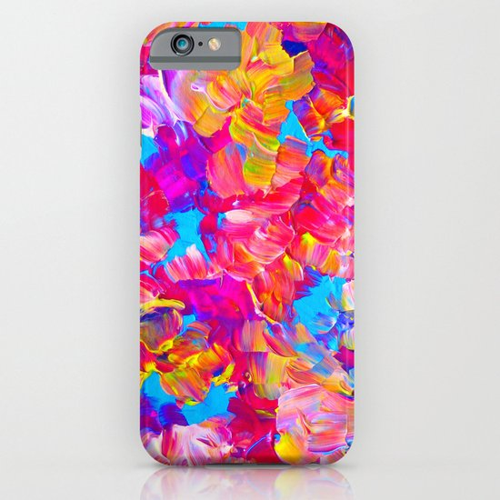 FLORAL FANTASY Bold Abstract Flowers Acrylic Textural Painting Neon Pink Turquoise Feminine Art iPhone & iPod Case