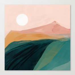 pink, green, gold moon watercolor mountains Canvas Print