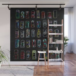 Neon Toy Cars Wall Mural