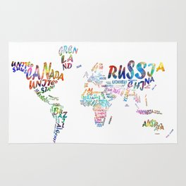 world map watercolor typography 1 Rug