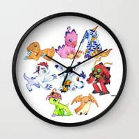 digimon Wall Clocks featuring Digimon Group by Catus