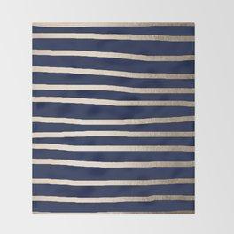 Drawn Stripes White Gold Sands on Nautical Navy Blue Throw Blanket