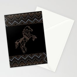 Ethnic pattern with a horse and american indian traditional ornament in brown and blue colors. Stationery Cards
