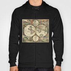 Old map of world hemispheres. Created by Frederick De Wit, 1668 Hoody
