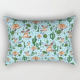 Cute Desert and Fennec Fox Pattern Rectangular Pillow