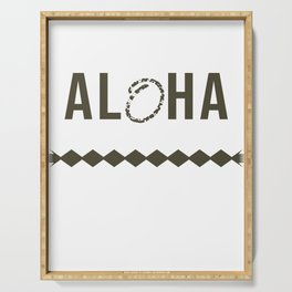 Fresh Hawaiian Style Tshirt Design Aloha Serving Tray