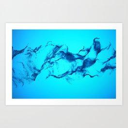 Blue Halftone Waves Art Print