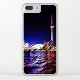 Toronto Nighttime Cityscape Landscape Painting by Jeanpaul Ferro Clear iPhone Case