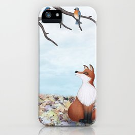 fox and eastern bluebirds iPhone Case